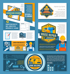 Construction and home repair banner template set vector