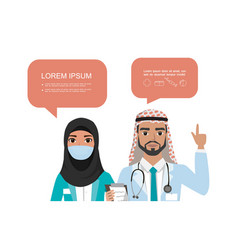 couple arabic doctors different nationalities vector image