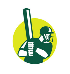 Cricket batsman batting icon retro vector