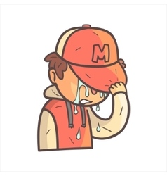 Crying Covering Face Boy In Cap And College Jacket vector