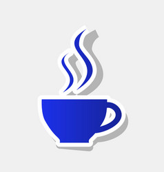 cup of coffee sign new year bluish icon vector image