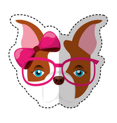 Cute french bulldog female with hipster accessory vector