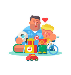 Dad playing with little son and toys poster vector