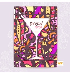 Decorative card menu with cocktail vector