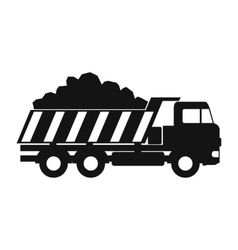 Dump truck black simple icon vector
