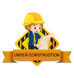 engineer under construction logo vector image