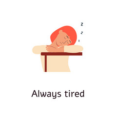 extremly tired woman is sleeping on table cartoon vector image