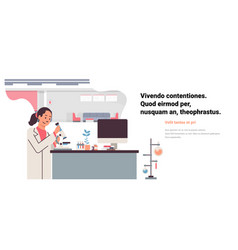 female scientist working with microscope in vector image