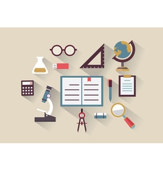 flat concept education and knowledge symbols vector image