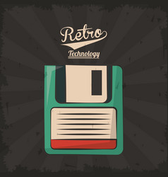 Floppy retro backup plastic technology vector