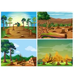 four scenes of deforestation and wild fire vector image