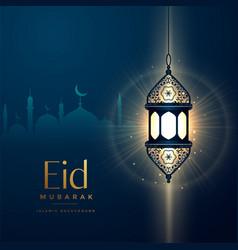 Glowing lantern design for eid festival vector
