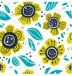 green flowers hand drawn seamless pattern vector image