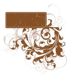grunge floral tag vector image