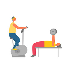 Gym training exercise bike and weight lifting vector