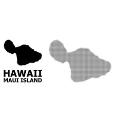 Halftone pattern and solid map maui vector