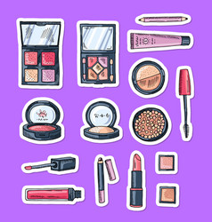 hand drawn makeup elements stickers vector image