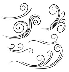 Hand drawn wind gust isolated on a white vector