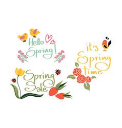 Hello spring collection vector