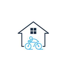 home bike logo icon design vector image