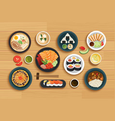 japanese food on top view wooden background vector image