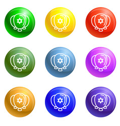 Jewish ballons icons set vector