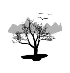 Landscape desert Dry tree with mountains in the vector image