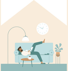 lazy man looking at laptop watch tv shows vector image