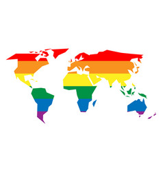 Lgbt rainbow pride flag in a shape of world map vector