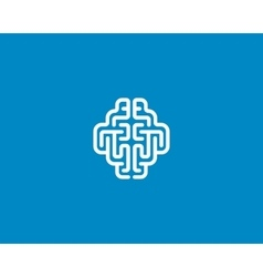 Linear brain logo generate idea design template vector
