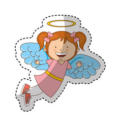 little girl angel character vector image