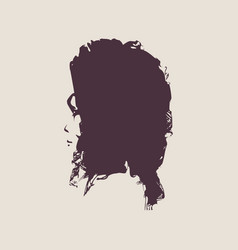 Little girl profile silhouette vector