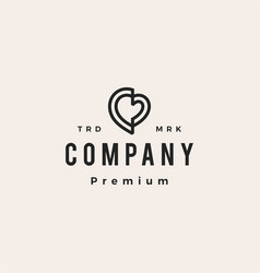 love heart outline hipster vintage logo icon vector image