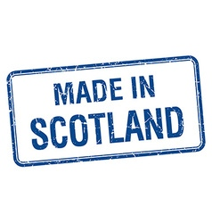 made in Scotland blue square isolated stamp vector image