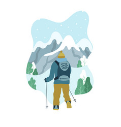 Man with backpack hiking to the top of mountain vector