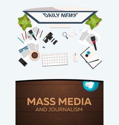 Mass media and journalism work place vector