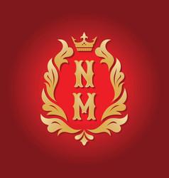monogram nm letters - concept logo template design vector image