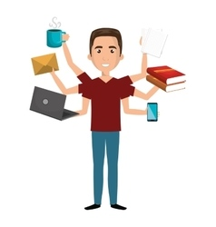Multitasking person cartoon with icons vector image