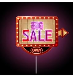 Neon sign big sale vector image