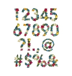 Numbers Colorful Flower Font For Your vector image