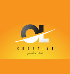 ol o l letter modern logo design with yellow vector image