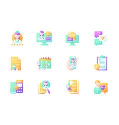 Online doctor app flat color icon set vector