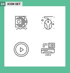 Pack 4 modern filledline flat colors signs vector