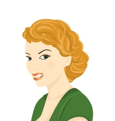 Portrait of red-haired woman vector image