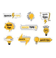 Quick tips set for website or blog post helpful vector