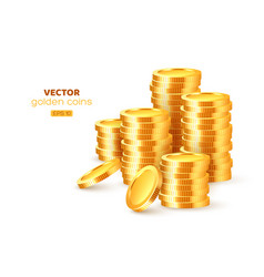 realistic 3d golden stacks coins vector image