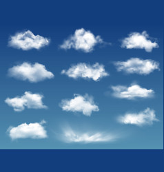 realistic clouds in blue sky or heaven background vector image
