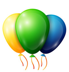 Realistic green yellow blue balloons with ribbon vector