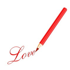 Red pencil and love letter vector image