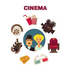 Retro cinema movie cinematography poster actors vector